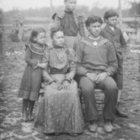 Group of Five near Wood Fence Military Uniform 1900.jpg